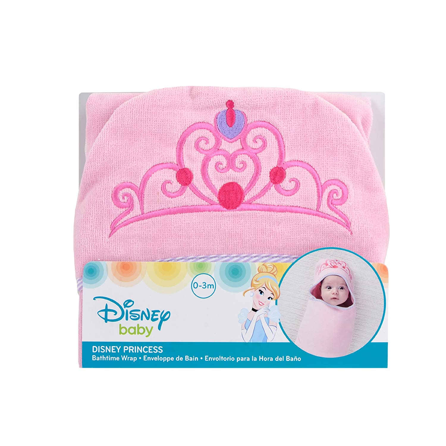 Disney Baby Princess Bath Swaddler, Pink