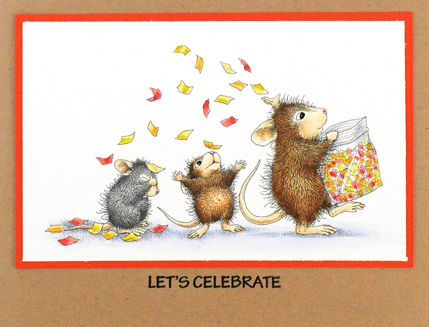 Stampendous House Mouse Wood Stamp Tossing Confetti