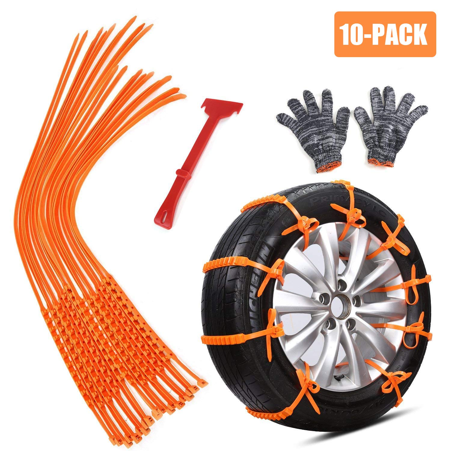 GAMPRO Anti-skid Chains 10 Pcs, Portable Emergency Traction Aid Anti-slip Snow Mud Sand Tire Chains Most Car SUV Van ATV etc. Comes Free Shovel Gloves(10 Pcs)