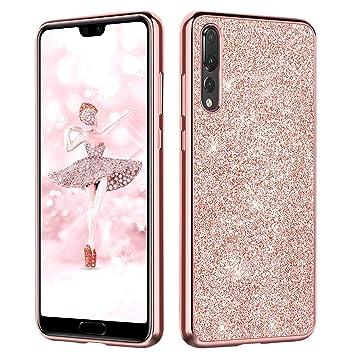 DUEDUE Funda Huawei P20 Pro, Carcasa Huawei P20 Pro Purpurina Ultra Slim Cover Case Suave TPU Silicona [Diseño Brillante] Resistente Protectora a ...