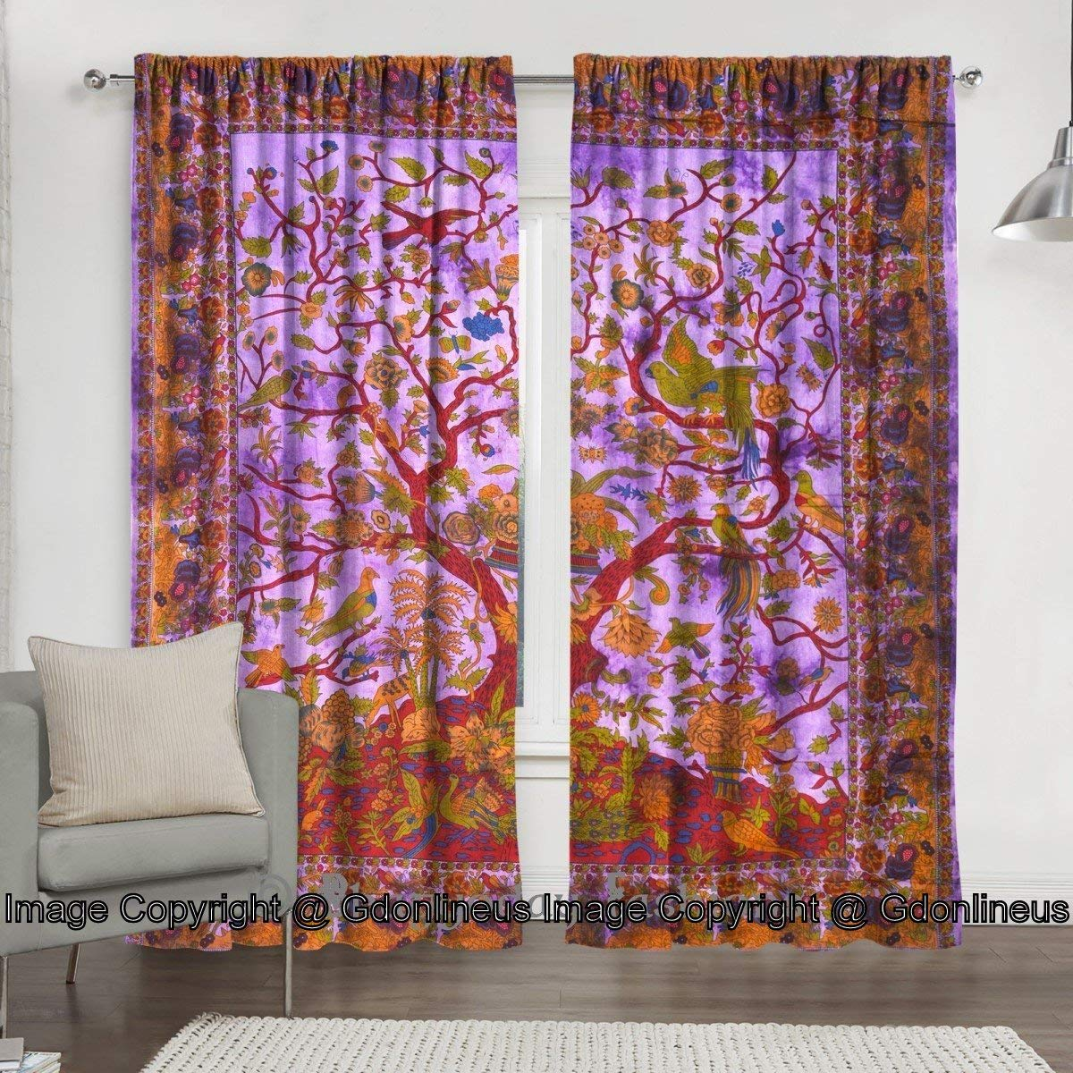 GDONLINE Turequoise Orange Tree of Life Curtain Wall Hanging Mandala Window Curtains Panels Bird Tapestry Hippie Bohemian Psychedelic