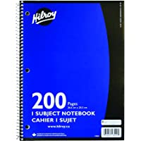 Hilroy Coil 1-Subject Wide Ruled Notebook, 10.5x8-Inch, 3-Hole Punched, 200 Pages, Assorted Color Covers, 3-Pack (89154)