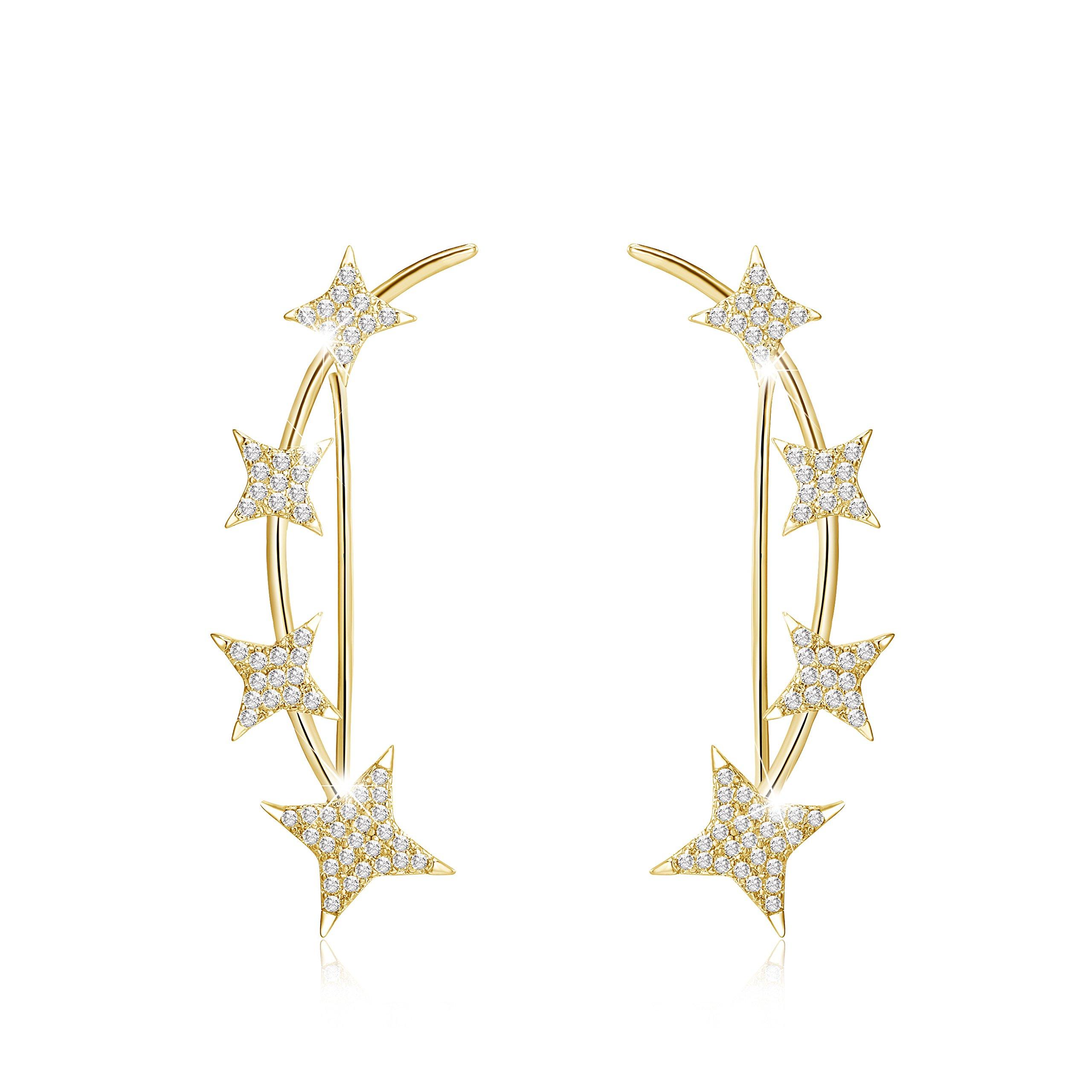 Mevecco Womens Girls Ear Crawler Climber CZ Crystal Star Ear Wrap Cuffs Earrings Sweep Stud Earring Pin Jewelry-Star-Gold