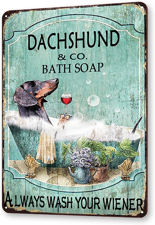 TINME Dachshund & Co. Bath Soap Tin Sign Wash Your Wiener Metal Sign Vintage Bar Home Bathroom Wall Decoration Sign 12x8 Inch