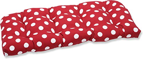 Pillow Perfect Outdoor Indoor Polka Dot Tufted Loveseat Cushion, 44 x 19 , Red