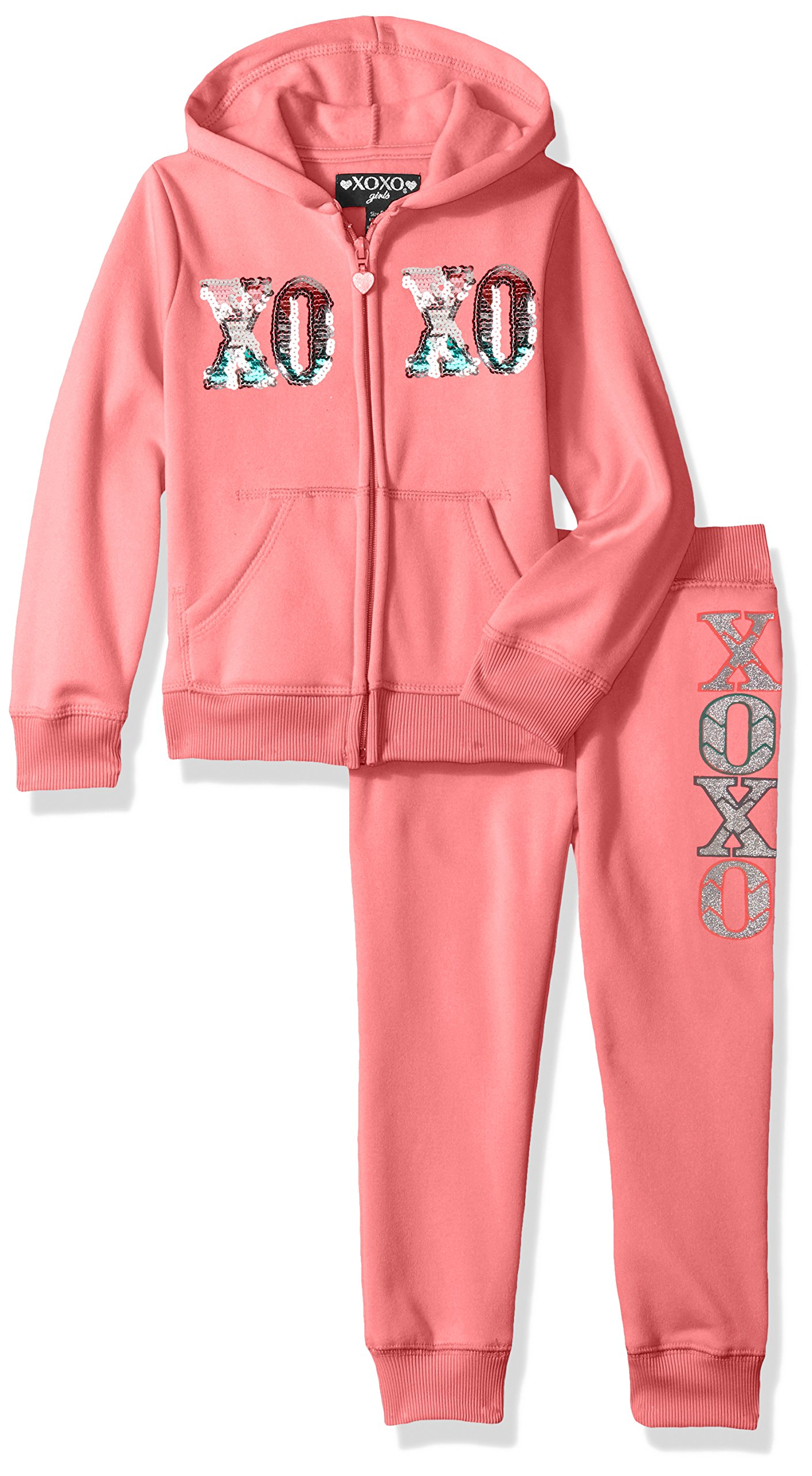 XOXO Big Girls' Hoodie and Jogger Set, Pink Volt, 10/12