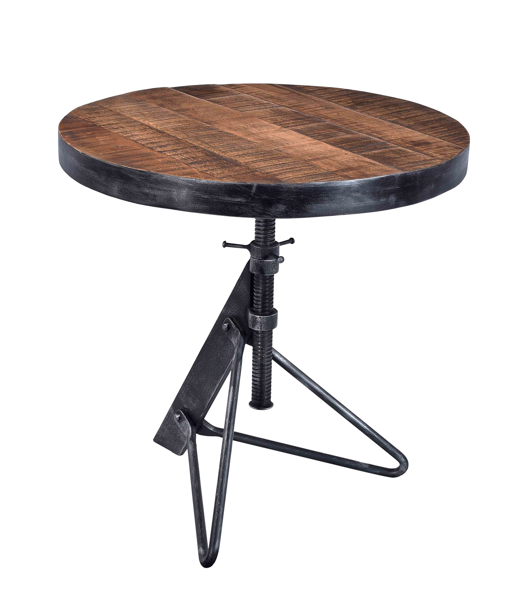 Treasure Trove Accents 17628 Adjustable Round Accent Table, Natural/Restoration