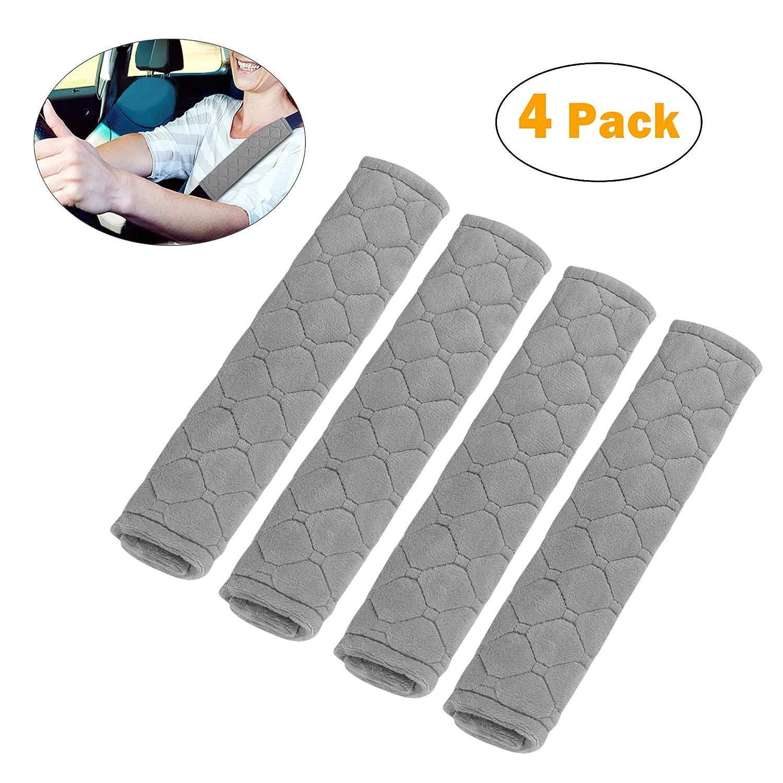 Gris 4pcs Almohadillas Coj/ín para Cintur/ón de Seguridad Extra/íble y Lavable Material de Gamuza Suave Y C/ómoda para Proteger Su Cuello Y Hombros ATUKA Protector Cinturon Coche