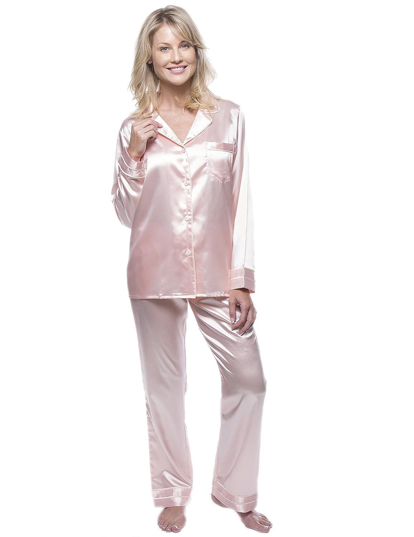 c5e62c8696 Noble Mount Women s Classic Satin Pajama Set at Amazon Women s Clothing  store