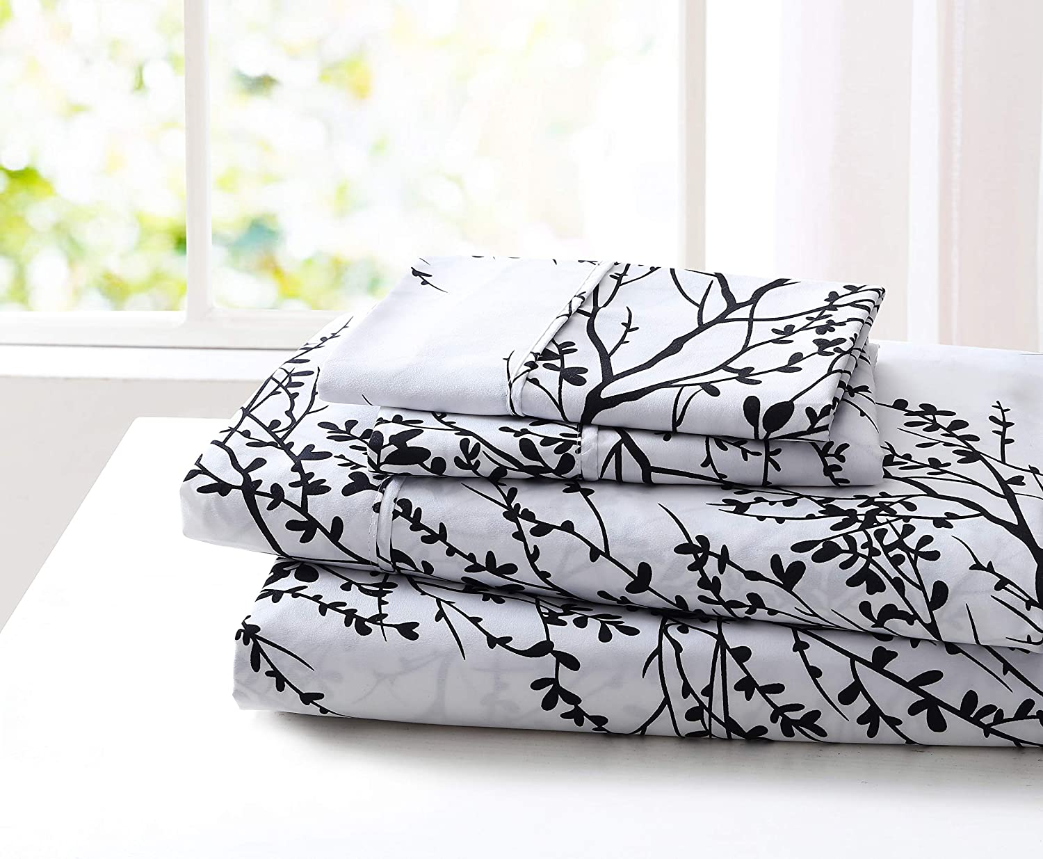 SL Spirit Linen Home EST. 1988 Foliage Collection Bed Sheet Set- Ultra Soft, Lightweight & Breathable Fabrics, Double Brushed Microfiber for Added Softness, Queen, White Black