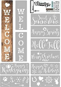 KIBAGA Reusable Stencils for Painting on Wood and More - Easy Paint Welcome Sign Stencil for Front Door, Porch or Outside Decor - Comes with Seasonal Bonus Stencils - Perfect Fall Decor for Your Home