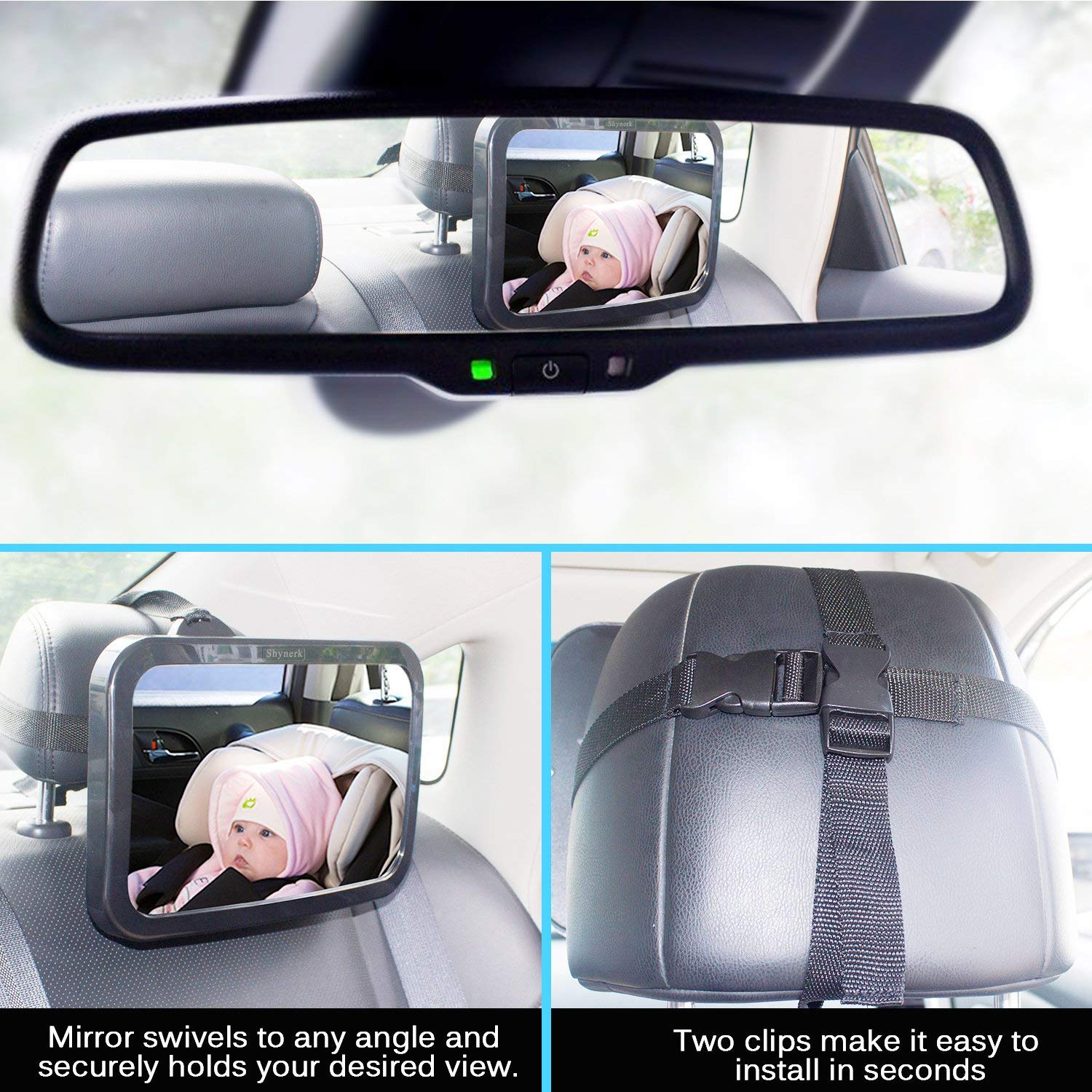 Baby Car Mirror Crash Tested and Certified Shatterproof,Pink Safety Car Seat Mirror for Rear Facing Infant with Wide Crystal Clear View Fully Assembled Shatterproof