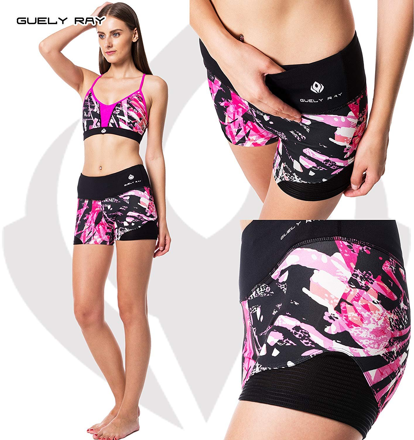 Guely Ray Women's Active Shorts for Workout & Training with Hidden Pocket 11 Styles (L (US 9-11: Waist 29-30.5; Hip 38-39.5), Pink Jungle 3.6'' Inseam) by Guely Ray (Image #3)