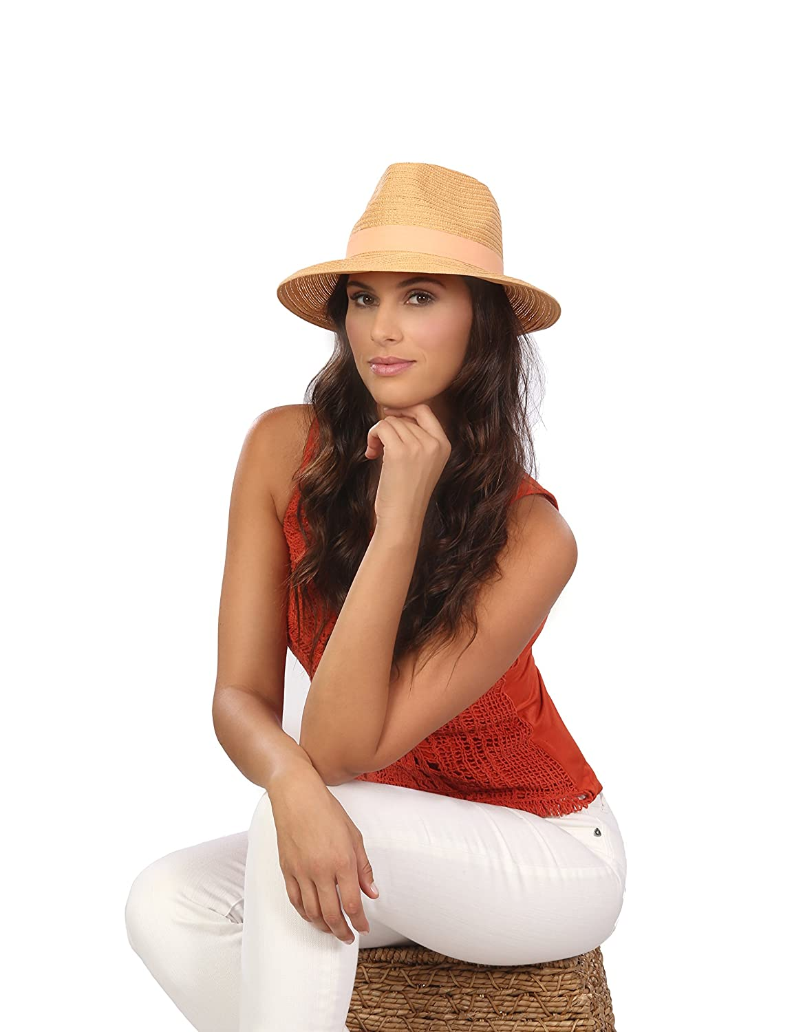 Physician Endorsed Womens Avanti Packable Fedora Sun Hat with Memory Wire Rated UPF 30 for UV Protection