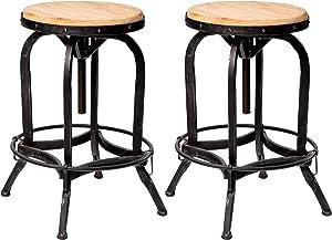 Great Deal Furniture Sebastiane Reclaimed Industrial Firwood Adjustable Height Swivel Bar Stool, Natural Antique and Black