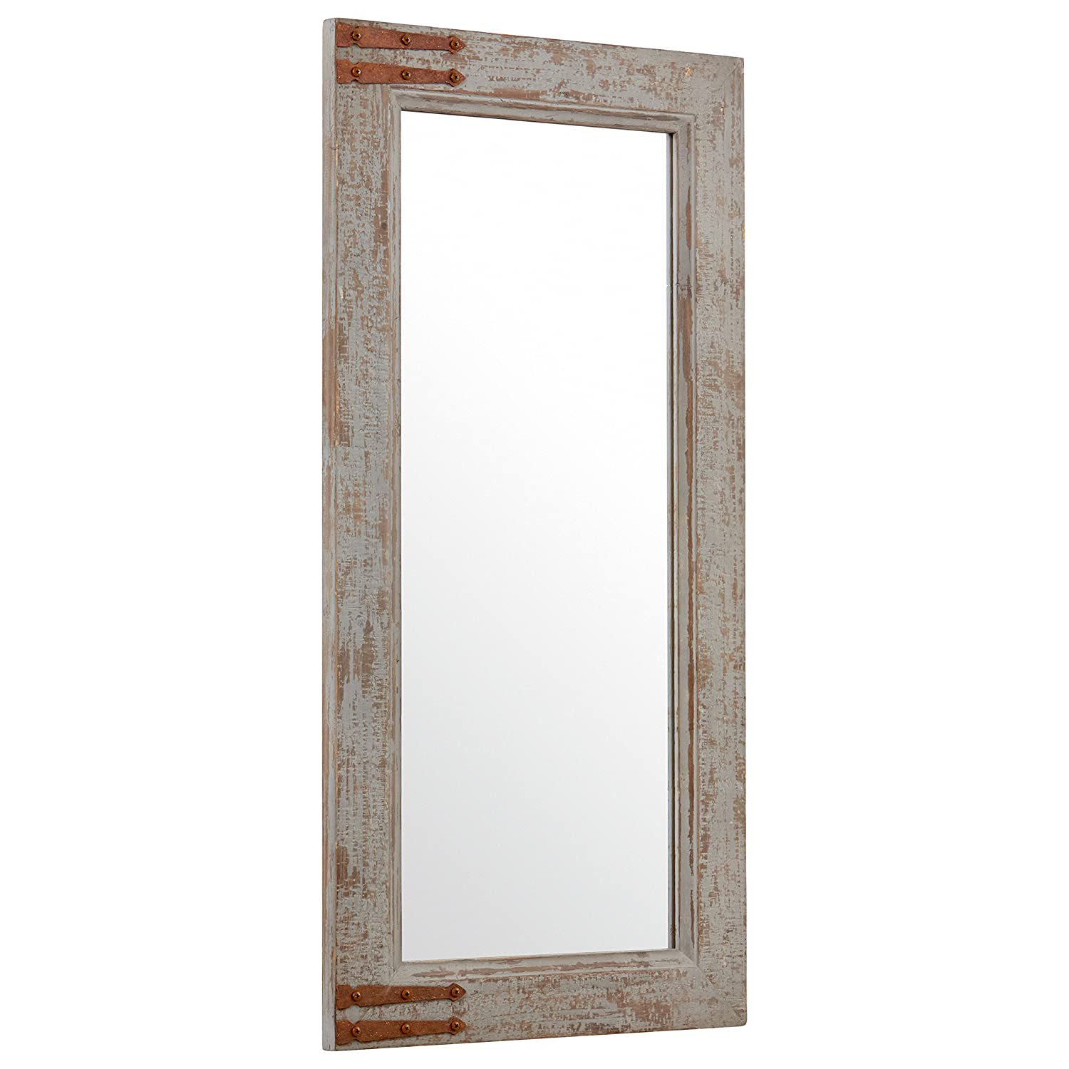 Stone Beam Vintage-Look Rectangular Hanging Wall Frame Mirror Decor, 36.25 Inch Height, Gray