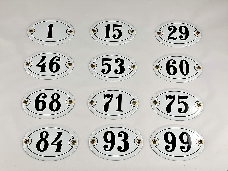 Emaille Schild oval Hausnummer 52 Wei/ß-SchwarzHandarbeit mit Schrauben und D/übel
