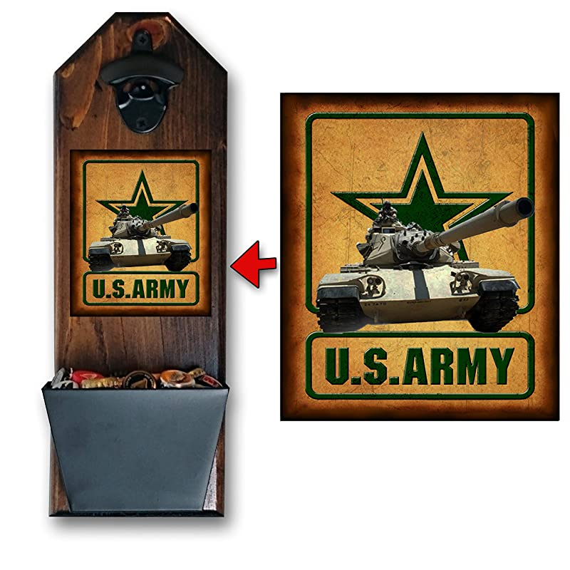 Made of Solid Pine 3//4 Thick Rustic Cast Iron Opener /& Galvanized Bucket Awesome Gift! Army Be All You Can Drink Bottle Opener and Cap Catcher Wall Mounted Handcrafted by a Vet