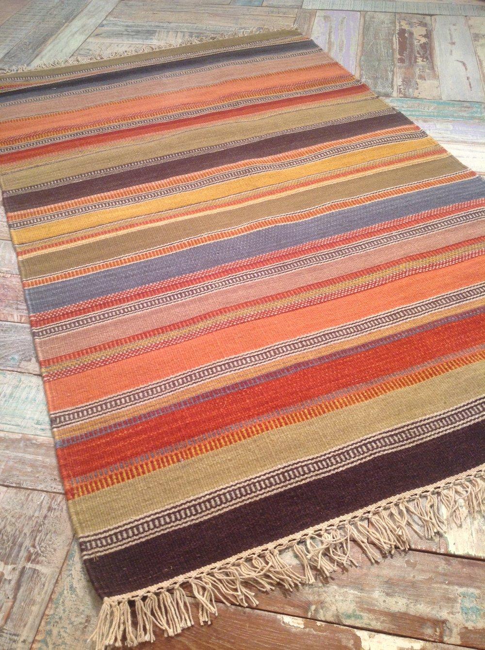 Second Nature Fair Trade Kelim Teppich – Ooty Kissenbezug, 75 cm x 120 cm in feines Gewebe Wolle