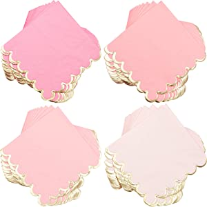 Pink and Gold Foil Party Dinner Napkins (5 x 5 Inches, 100 Pack)