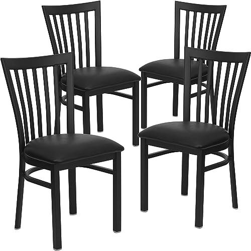 Flash Furniture 4 Pack HERCULES Series Black School House Back Metal Restaurant Chair
