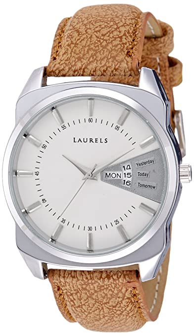 Laurels Invictus White Dial Day and Date Function Wrist Watch - For Men Men at amazon