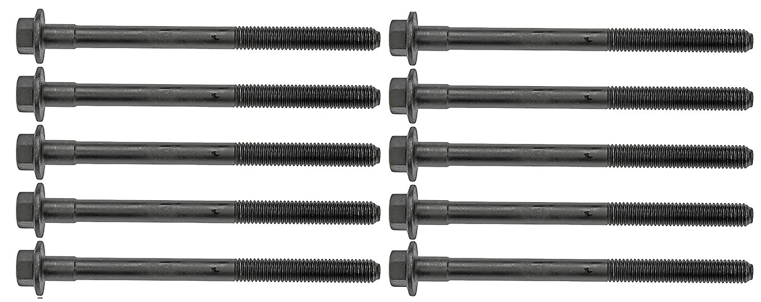 APDTY 114276 Engine Bearing Steel Bolt Set Of 10; Thread Size 10x1.5 Fastner length 5.24in; Fits Specific Vehicles and Engines See Compatibility Chart for Full Vehicle Fitment (Replaces 11569841)