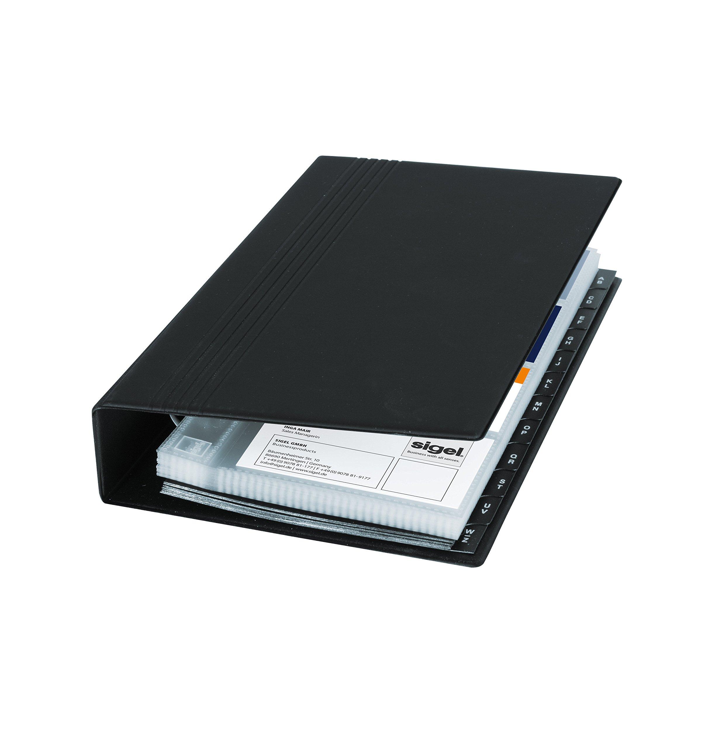 Sigel VZ300 Business Card Organiser, one row, black, matt, with 25 clear plastic pockets, index A-Z, 4-ring-mechanism
