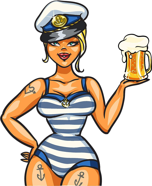 Amazon.com: Pretty Sexy Curvy Sailor Beer Girl Woman Cartoon ...