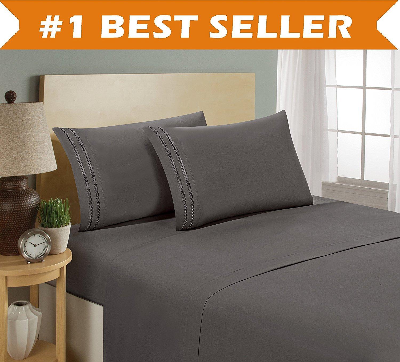 Luxury Bed Sheet Set on Amazon Full, Grey