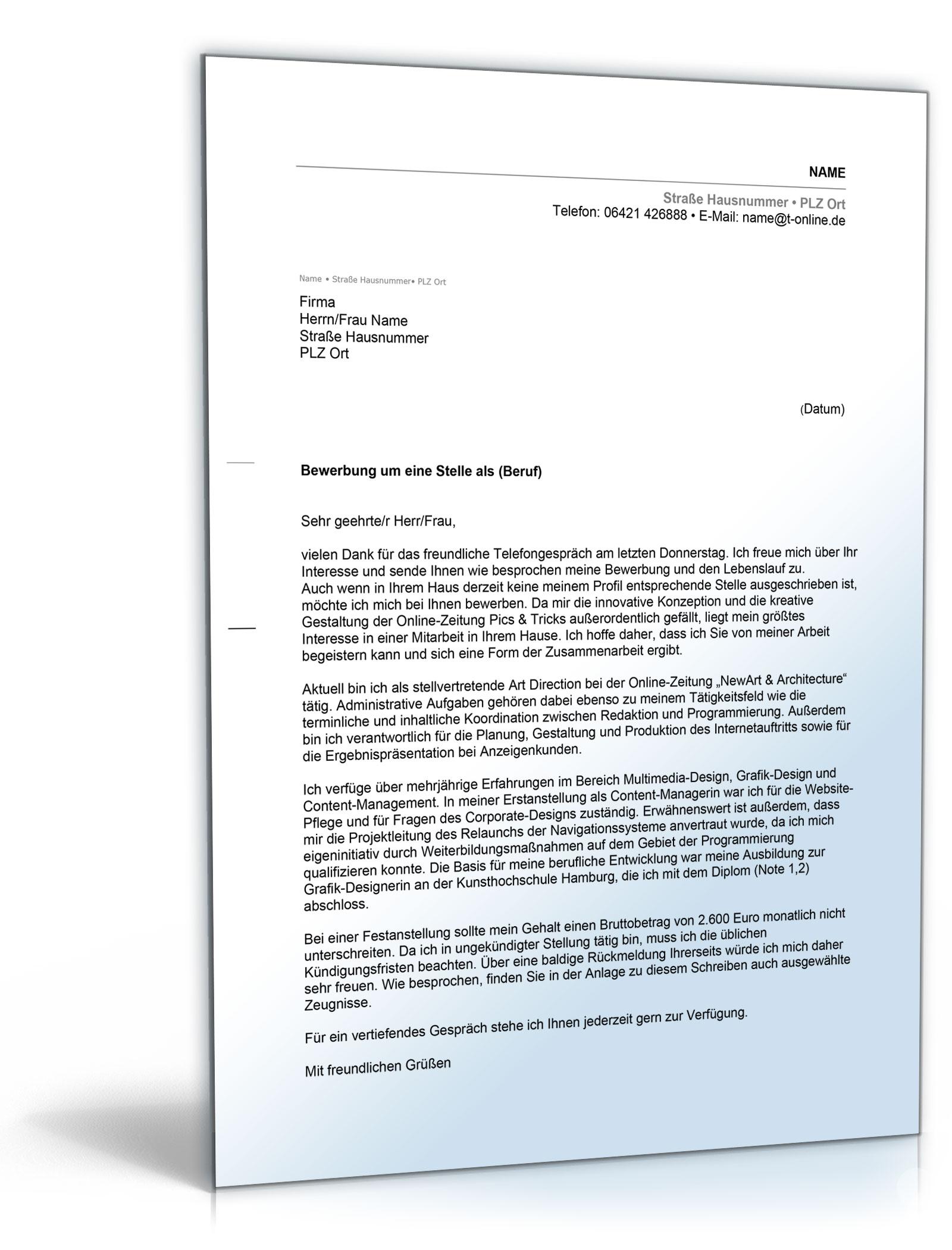 Anschreiben Bewerbung Initiativbewerbung Word Dokument Amazonde