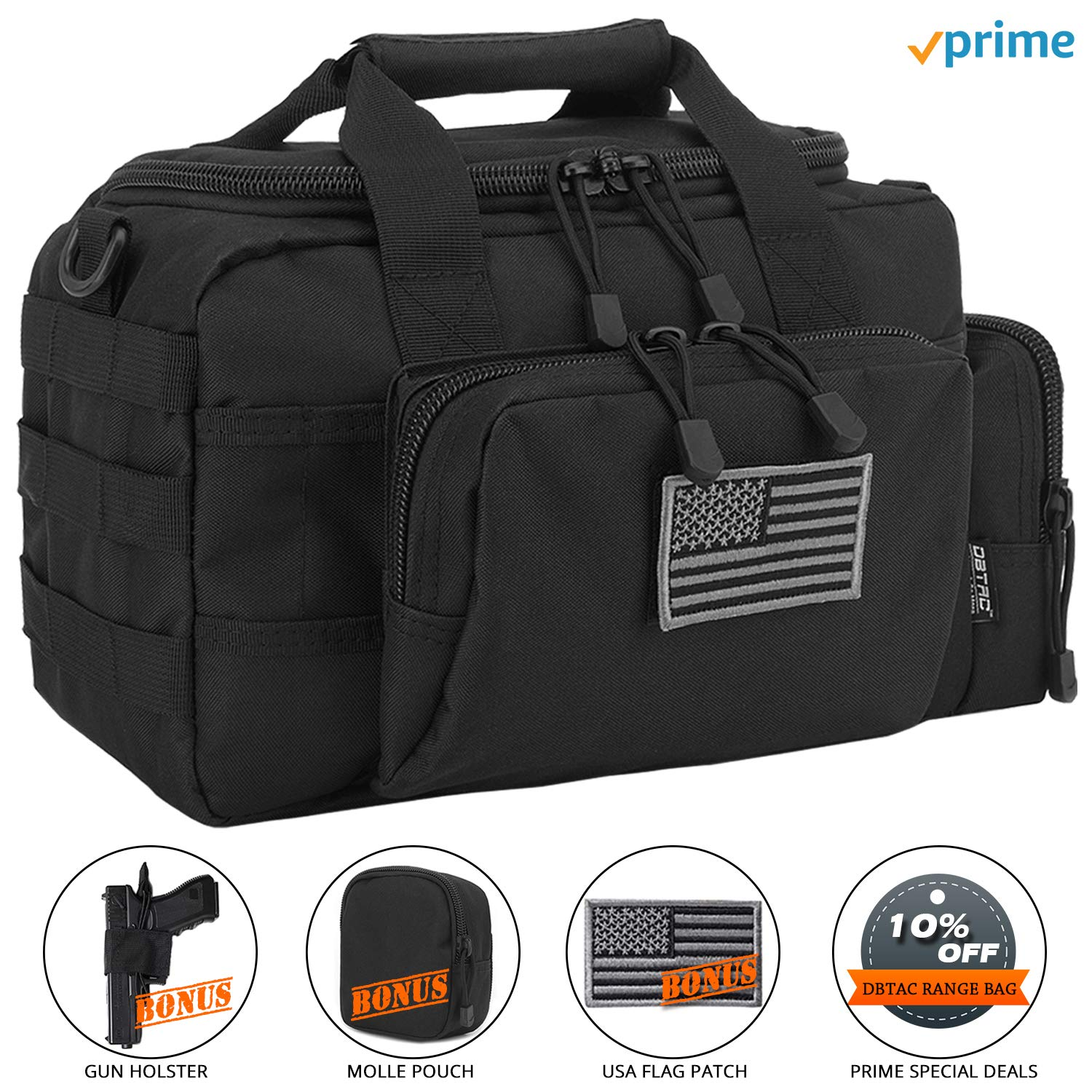 DBTAC Gun Range Bag Small | Tactical 2X Pistol Shooting Range Duffle Bag with Lockable Zipper for Handguns and Ammo | Free Molle Pouch, Hook-Fastener Gun Holster and US Flag Patch Included (Black) by DBTAC