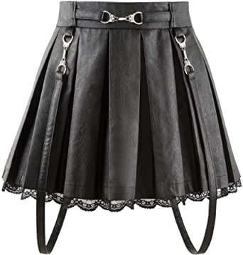 LittleForBig Women's A-Line Pleated PU Leather Flared Casual Lace Trim Mini Skirts
