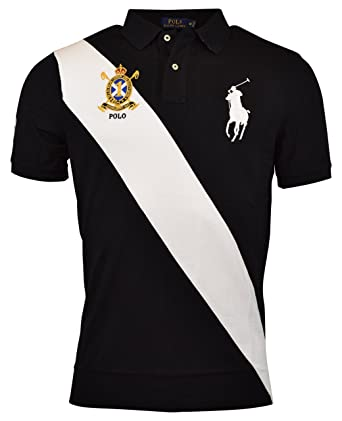 Polo Ralph Lauren Mens Classic Fit Mesh Big Pony Polo Shirt - S - Black/