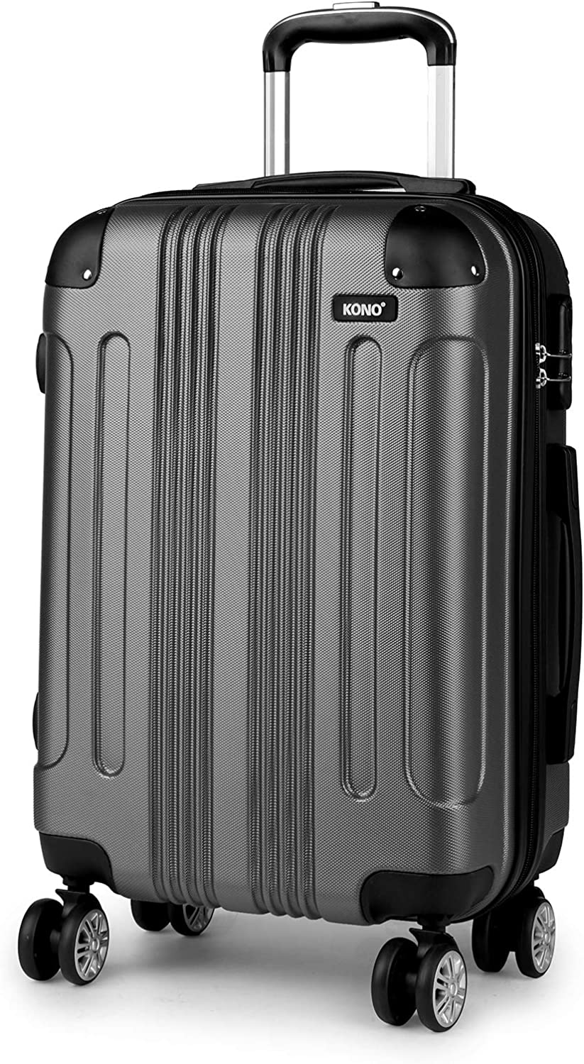 Kono Carry on Suitcase Hard Shell Luggage with 8 Spinner Wheels 22x14x9 Rolling Bag Gift with YKK Dual Zipper for Travel 20inch Grey
