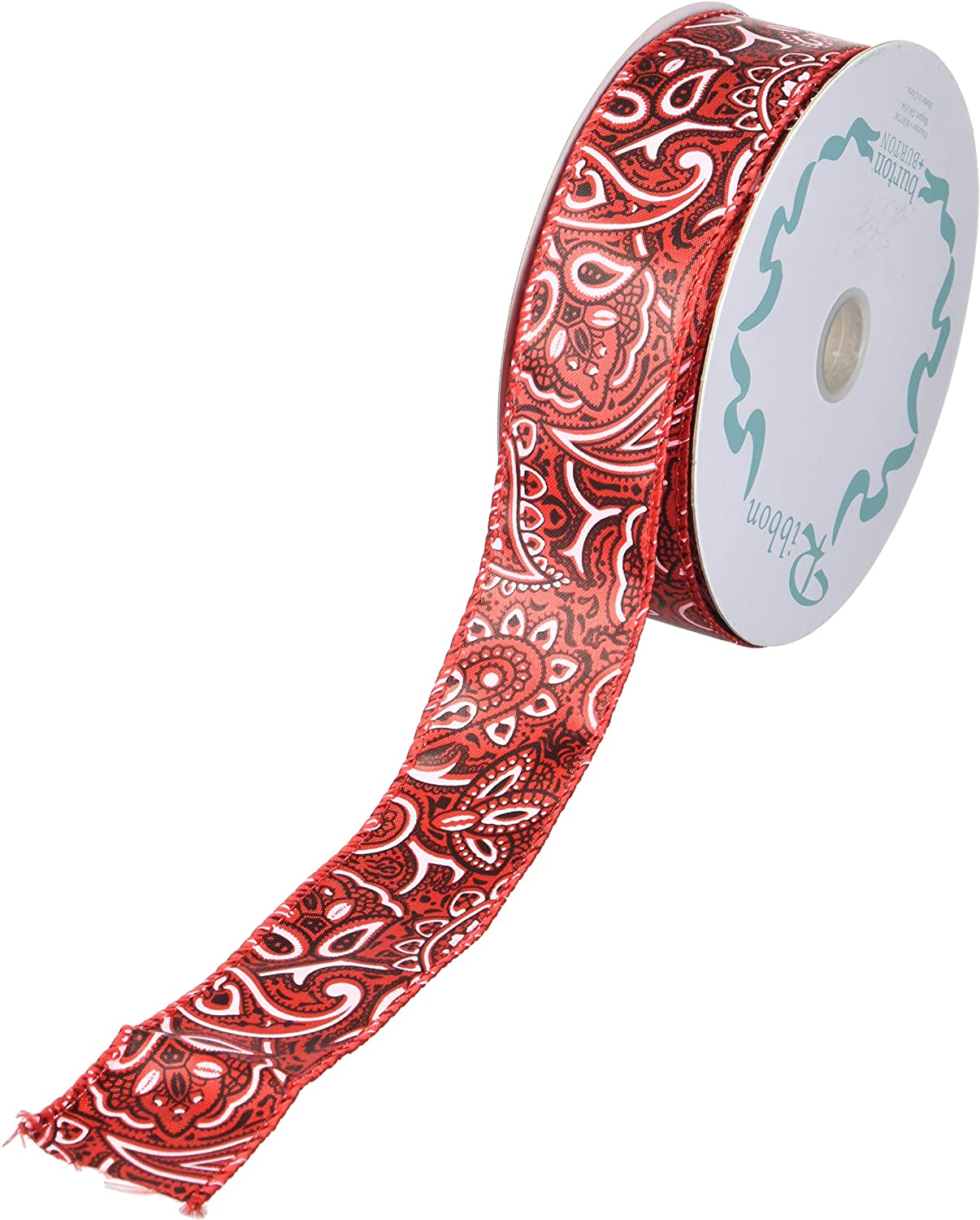 """2.5/"""" WIRED CHRISTMAS RIBBON 40 YARD ROLLS WHITE SATIN WITH LIME /& RED WAVES//DO"""