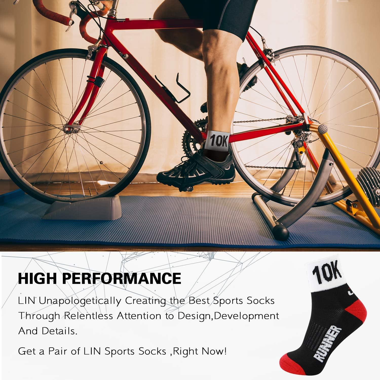 LIN 6 Pack Mens Cycling Socks Breathable Coolmax Bike Socks Black Sports Athletic Bicycle Socks Size M//L