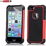 32nd® Funda Rígida Anti-Choques de Alta Proteccion para Apple iPhone 4 4S Carcasa Defensora de Doble Capa - Rojo