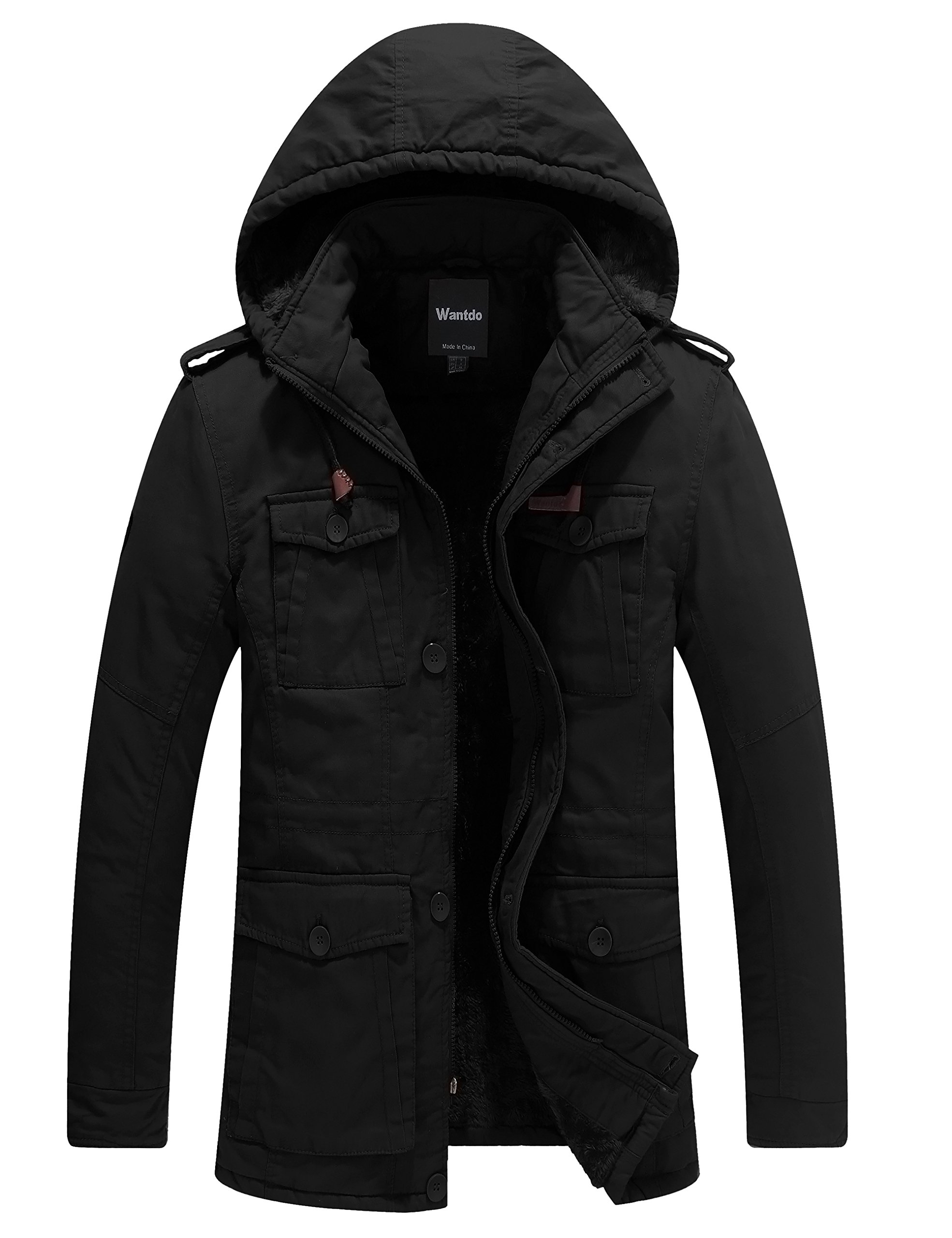 Wantdo Men's Winter Thicken Outwear Coat With Removable Hood (Black, Medium)