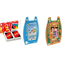 Uno Family Cards Game, Winning Moves Top Trumps Chhota Bheem & Doraemon Cards Combo - Pack of 3 Sets Cards/ Uno - 108 Cards, Doraemon - 30 Cards & Chhota Bheem - 30 Cards
