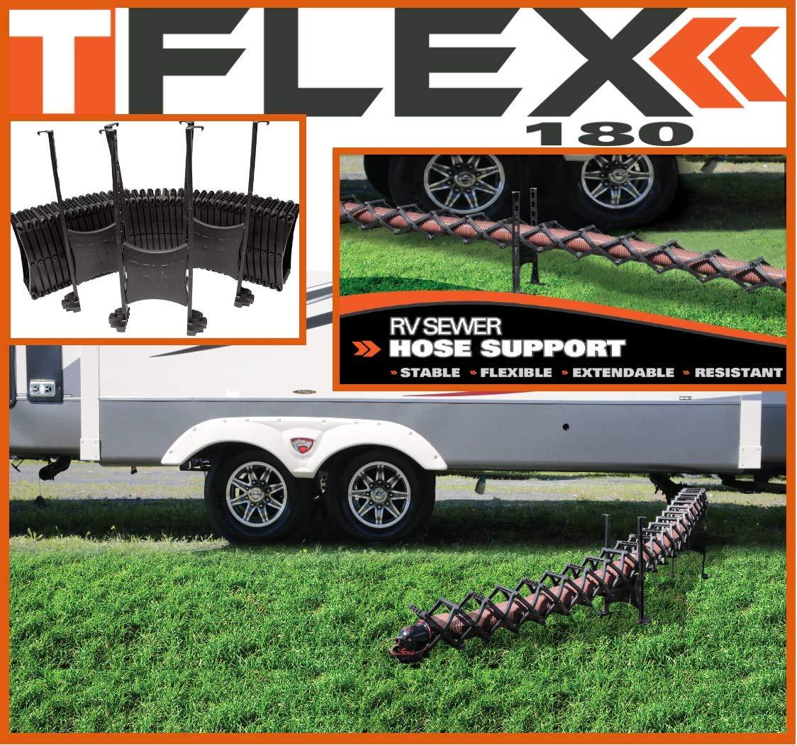 Fits Adjustable Height High Grade Plastic 20ft 180/° Flexibility 30 Seconds Installation//Storage TFlex RV DRAINING Hose Support
