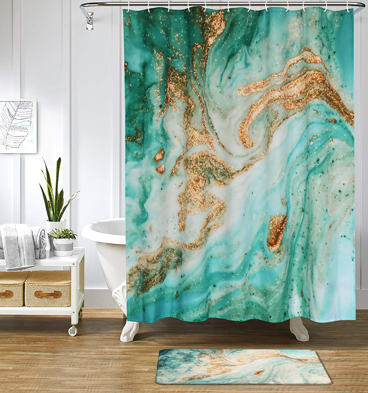 Uphome Marble Texture Shower Curtain Abstract Green Marble Swirls Ripples Fabric Shower Curtain with Art Gold Cracked for Bathtub Showers Bathroom Decor,Heavy Duty and Waterproof(72
