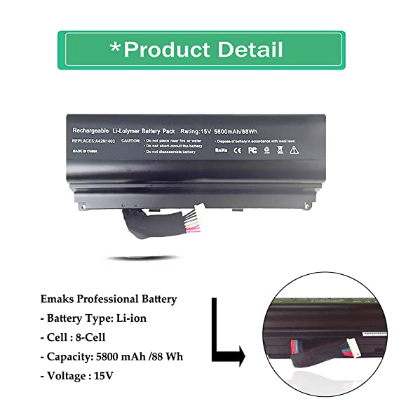 Amazon.com: A42N1403 Battery for ASUS G751JT G751JY GFX71JT4710 GFX71JT4720 GFX71JY4860 [15V 88Wh Emaks®]: Computers & Accessories