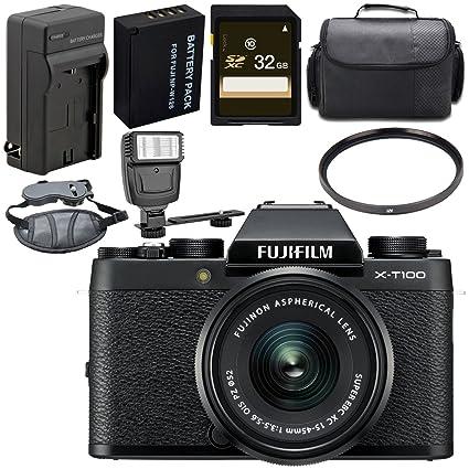 Fujifilm X-T100 Mirrorless Digital Camera with 15-45mm Lens (Black)  16582804 + 52mm UV Filter + Carrying Case + Universal Slave Flash Unit +  Hand