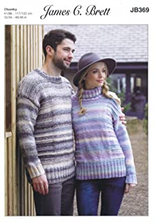 2ba2c9251aa44 James C Brett JB369 Knitting Pattern Ladies Mens Sweaters in Marble Chunky