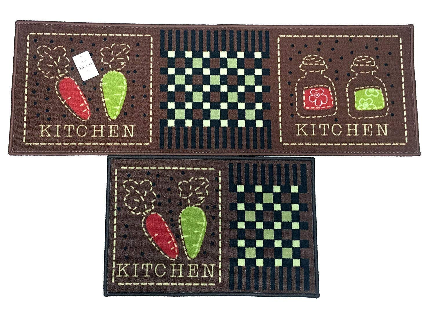 EUCH Non-slip Rubber Backing Carpet Kitchen Mat Doormat Runner Bathroom Rug 2 Piece Sets,15''x47''+15''x23'' (carrot-brown)