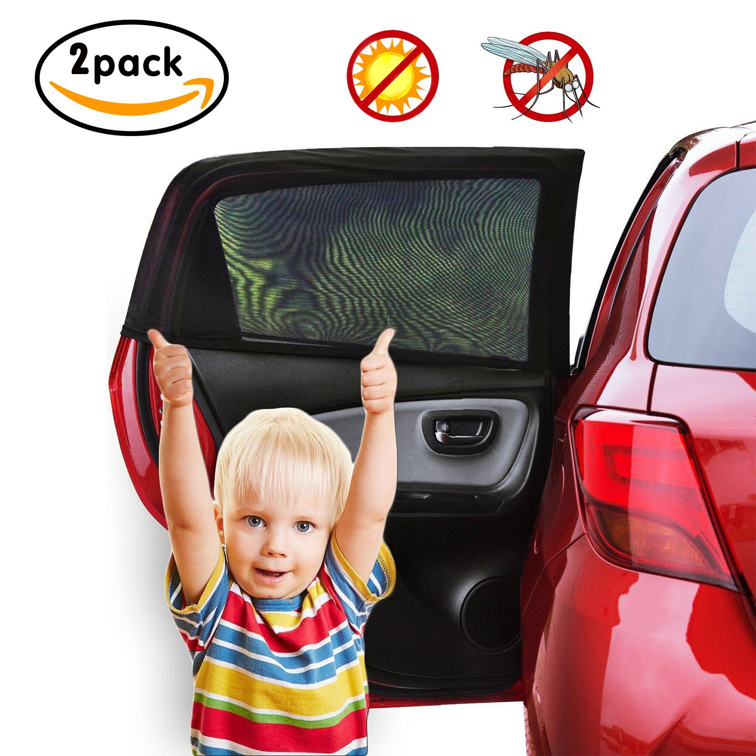 Car Sun Shades (2 Pack), Tinabless Universal Car Window Shade with UV Protection | Protects Your Baby, Pets and Older Kids from The Sun, Fits All (99%) Cars! Most SUVs!