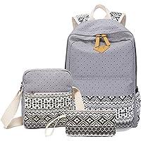 WSLCN Canvas Backpacks Set Girls School Bags Zipped Daypack Travel Satchel Shoulder Messenger Bag Kids Shoulder Bag…