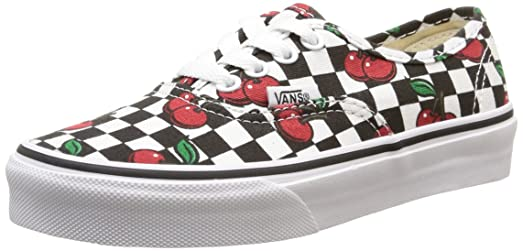 Vans Kids Girls Authentic (Little Kid/Big Kid) (Cherry Checkers) Black