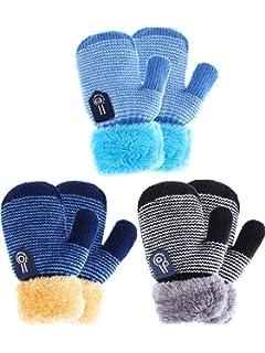 Zhanmai 3 Pairs Toddler Winter Mittens Gloves Baby Boys Girls Warm Gloves Infant Thicken Knit Mittens Kids Gloves